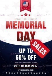 Memorial Day Sales PSD Flyer Template
