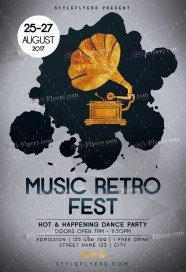 Music Retro Fest PSD Flyer