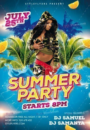 Summer Party Psd Flyer Template #19284 - Styleflyers