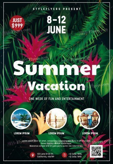 Summer Vacation Psd Flyer Template #19411 - Styleflyers