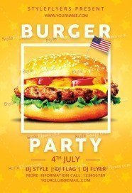 Burger Independence Party PSD Flyer Template