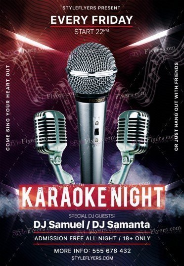 Karaoke Night Psd Flyer Template #19669 - Styleflyers
