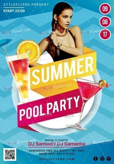 Summer Pool Party Psd Flyer Template #19785 - Styleflyers