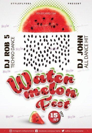Watermelon fest PSD Flyer Template