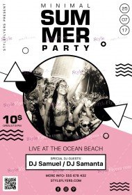 Minimal Summer Party PSD Flyer Template
