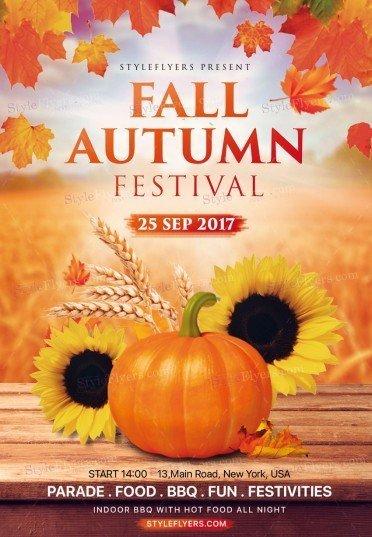 Fall Autumn Festival PSD Flyer Template