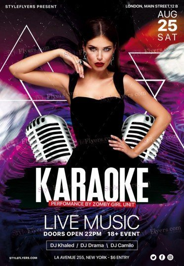 Karaoke Night Psd Flyer Template #20394 - Styleflyers