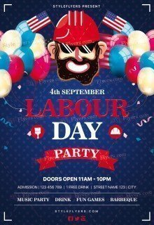 Labour Day Party PSD Flyer