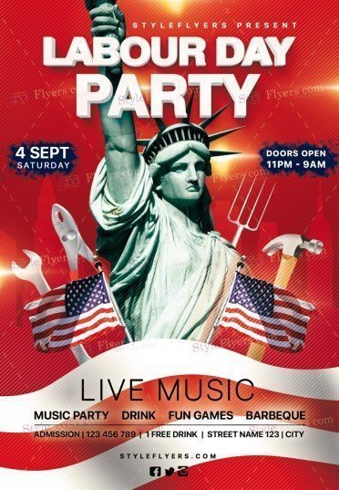 Labour Day Party Psd Flyer Template #20382 - Styleflyers