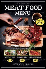 Meat Food Menu PSD Flyer Template