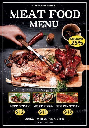 Meat Food Menu PSD Flyer Template 20560 Styleflyers