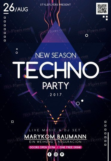 New Season Techno Party PSD Flyer Template