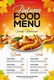 Autumn Food Menu PSD Flyer Template