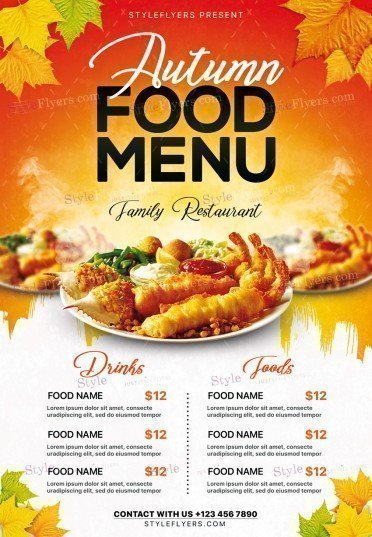 Autumn Food Menu Psd Flyer Template   Styleflyers