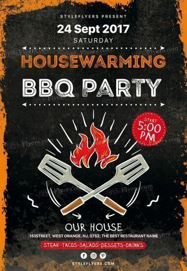 Housewarming Bbq Party Psd Flyer Template   Styleflyers