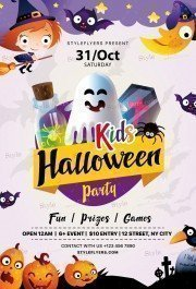 Kids Halloween Party PSD Flyer Template