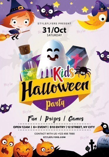 Kids Halloween Party Psd Flyer Template 20929 Styleflyers