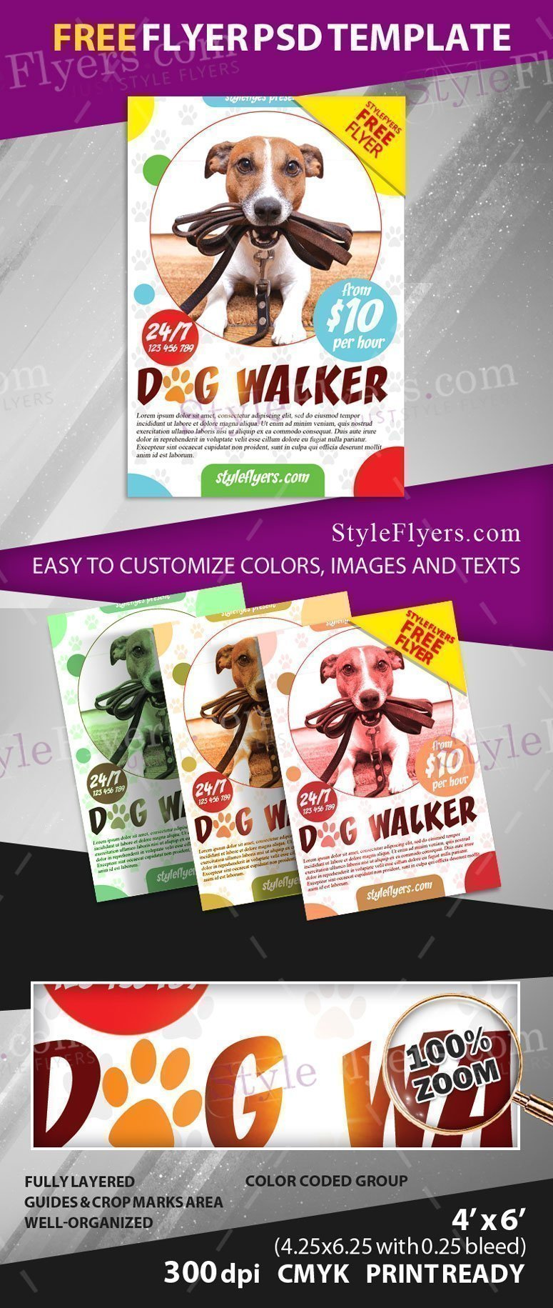 puppy for sale flyer templates - dog walker free psd flyer template free download 20900