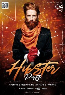 Hipster Party PSD Flyer Template