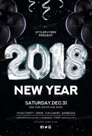 New Year 2018 PSD Flyer Template