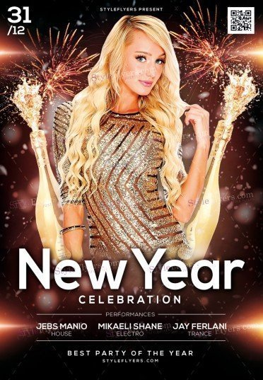 New Year Celebration PSD Flyer Template
