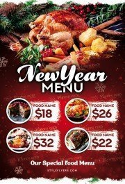 New Year Menu PSD Flyer Template