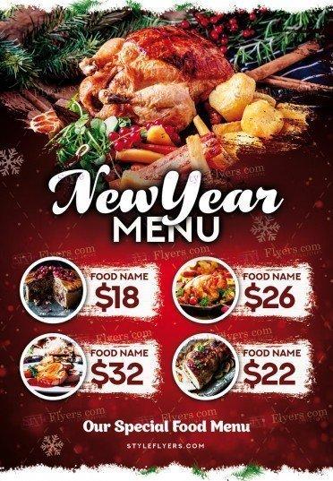 New Year Menu PSD Flyer Template