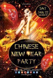 Chinese New Year Party Premium PSD Flyer Template