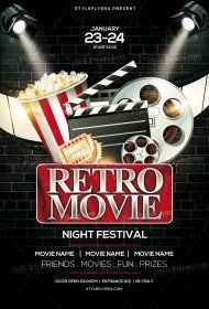 Retro Movie Night Festival PSD Flyer Template