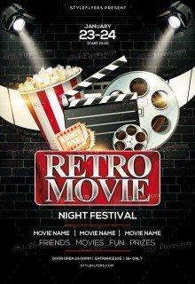 Retro Movie Night Festival PSD Flyer Template
