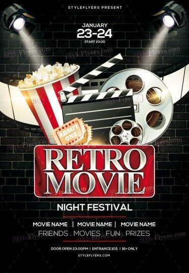 Retro Movie Night Festival Psd Flyer Template   Styleflyers