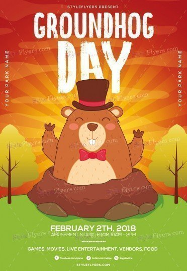 Groundhog Day PSD Flyer Template