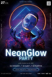 Neon Glow Party PSD Flyer Template
