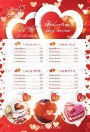 Valentine's Day Menu PSD Flyer Template