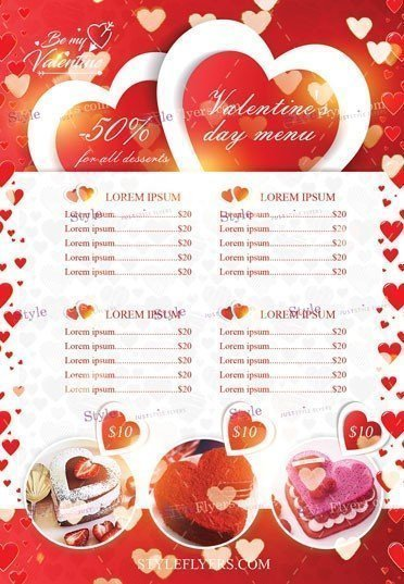 valentine s day menu psd flyer template 22706 styleflyers