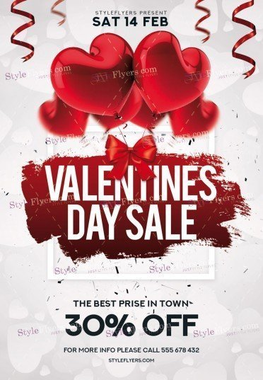 valentines day sale psd flyer template 22534 styleflyers