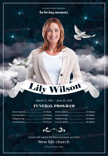 funeral program psd flyer template 23027 styleflyers