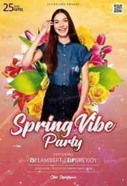 Spring Vibe Party PSD Flyer Template