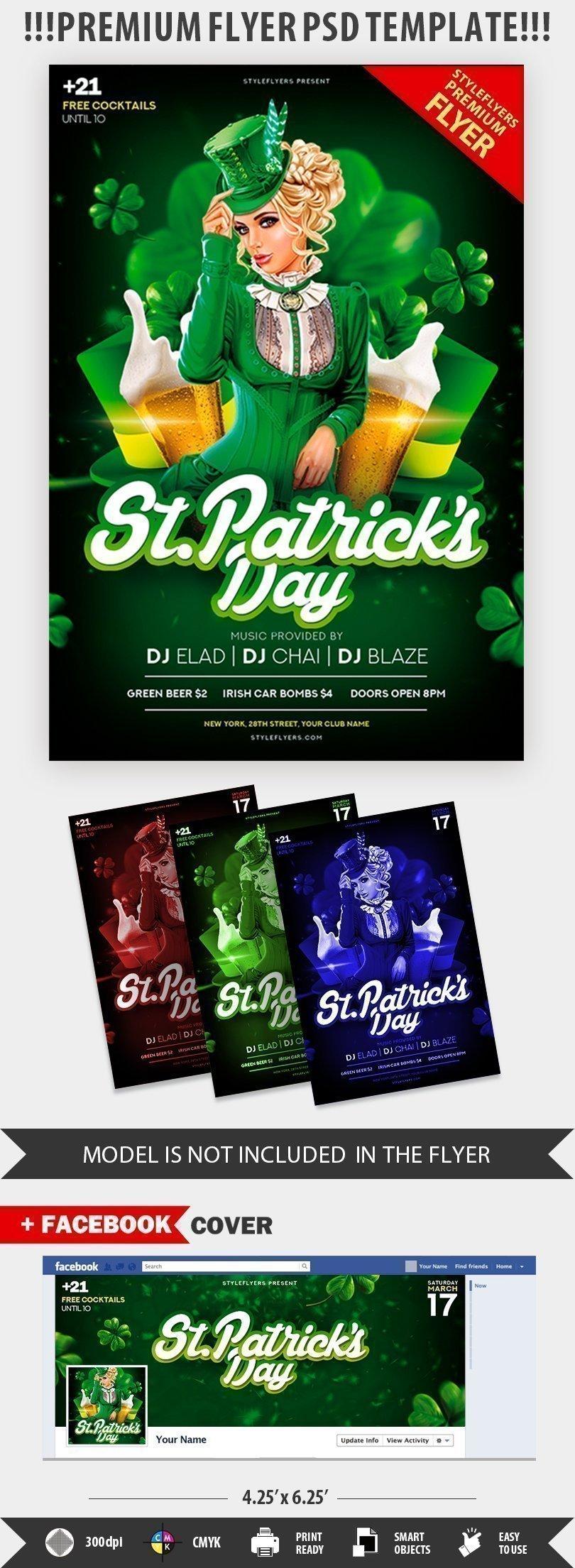 St. Patrick\'s Day PSD Flyer Template #23028 - Styleflyers