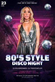 80's Style Disco Night PSD Flyer Template