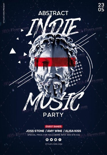 Abstract Indie Music Party PSD Flyer Template