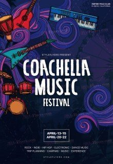 Coachella Music Festival PSD Flyer Template