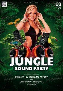 Jungle Sound Party PSD Flyer Template