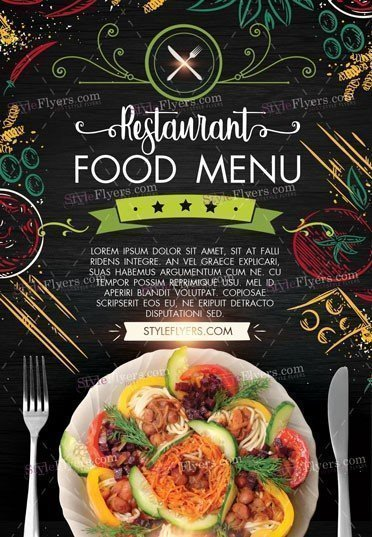 Restaurant Food Menu Psd Flyer Template   Styleflyers
