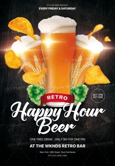 Retro Happy Hour Beer PSD Flyer Template