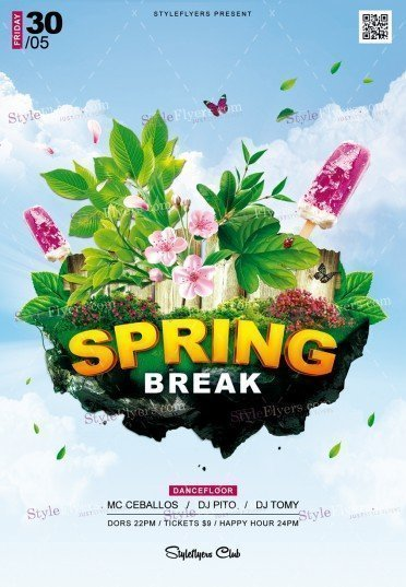Spring Break Psd Flyer Template   Styleflyers