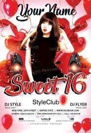 Sweet 16 PSD Flyer Template