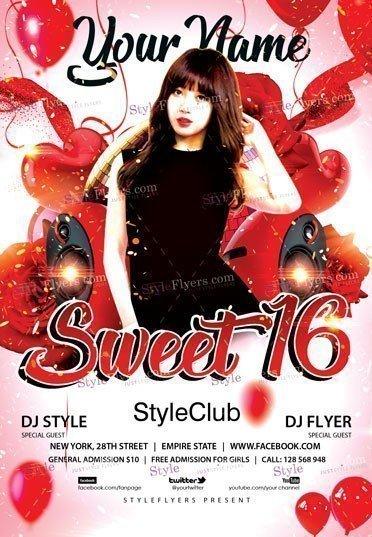 sweet 16 psd flyer template 23553 styleflyers