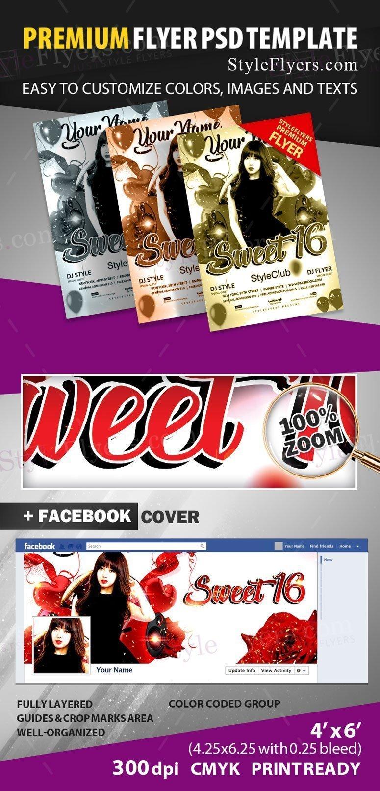 Sweet 16 PSD Flyer Template #23553