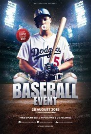 Baseball Event PSD Flyer Template